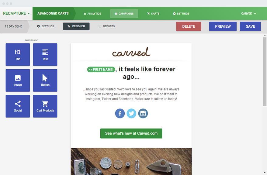 Magento And Shopify Abandoned Cart Email Extension Recaptureio - Abandoned cart email template